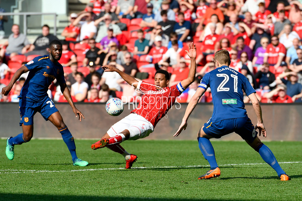 Korey Smith (7) of Bristol City stretches for the ball during the EFL Sky Bet Championship match between Bristol City and Hull City at Ashton Gate, Bristol, England on 21 April 2018. Picture by Graham Hunt.