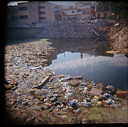 Litter and debris are seen floating on the water of Aytaroun, Southern Lebanon, Oct. 23, 2006. <br />Aytaroun is mere kilometers from the border with Israel and always on the frontline of any conflict between Israel and Hezbollah.