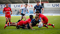 Rugby Union - 2019 / 2020 Gallagher Premiership - Sale Sharks vs Saracens<br /> <br /> Simon Hammersley of Sale Sharks scores a try during the match at A J Bell Stadium.<br /> <br /> COLORSPORT/LYNNE CAMERON