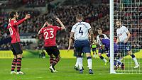 Football - 2018 / 2019 Premier League - Tottenham Hotspur vs. Southampton <br /> <br /> Southampton players react after a poor free kick is gathered ny Hugo Lloris (Tottenham FC) at Wembley Stadium.<br /> <br /> COLORSPORT/DANIEL BEARHAM