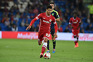 Javi Guerra of Cardiff city in action.Skybet football league championship match, Cardiff city v Middlesbrough at the Cardiff city stadium in Cardiff, South Wales on Tuesday 16th Sept 2014<br /> pic by Andrew Orchard, Andrew Orchard sports photography.