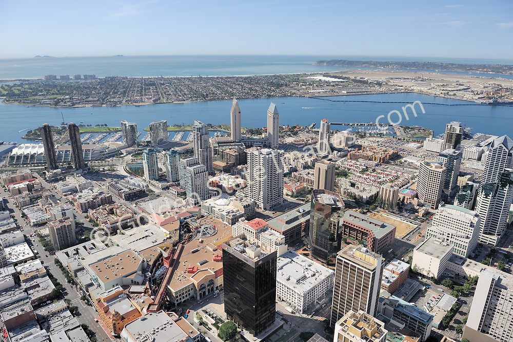 Aerial Photo.<br /> <br /> View looking west, Coronado and Point Loma in background.