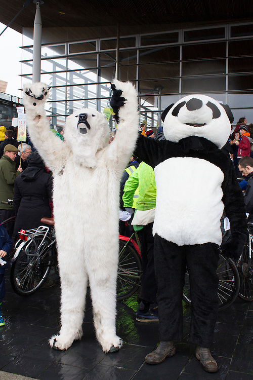 Protest outside the Senedd, Cardiff, for Wales Climate Action Day,ahead of UN climate change negotiations in Paris (COP21 – the 21st Conference of Parties)