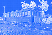 Digitally enhanced image of an old train coach at the Tel Aviv, Neve Tzedek, Hatachana complex, a renovated Ottoman train station that was originally built to serve Jaffa