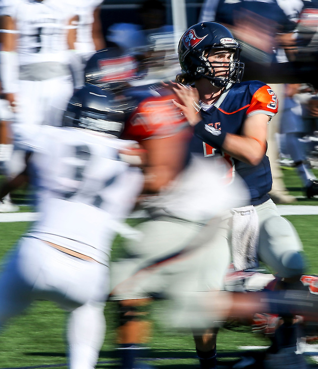 Nov. 05, 2016; Costa Mesa, CA; Orange Coast Pirate quarterback Kody Whitaker (3) waits in the pocket during a game against Fullerton College. Orange Coast lost the game 35-14.<br /> <br /> Photo by Jay Anderson / Sports Shooter Academy