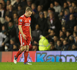 05.12.2011, Craven Cottage Stadion, London, ENG, PL, FC Fulham vs FC Liverpool, 14. Spieltag, im Bild Liverpool's Jay Spearing walks off after being shown the red card during the football match of English premier league, 14th round, between FC Fulham and FC Liverpool at Craven Cottage Stadium, London, United Kingdom on 05/12/2011. EXPA Pictures © 2011, PhotoCredit: EXPA/ Sportida/ David Rawcliff..***** ATTENTION - OUT OF ENG, GBR, UK *****