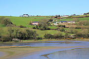 Coastal rural scenery River Arigideen estuary low tide, Burren, Rathclaren, County Cork, Ireland, Irish Republic