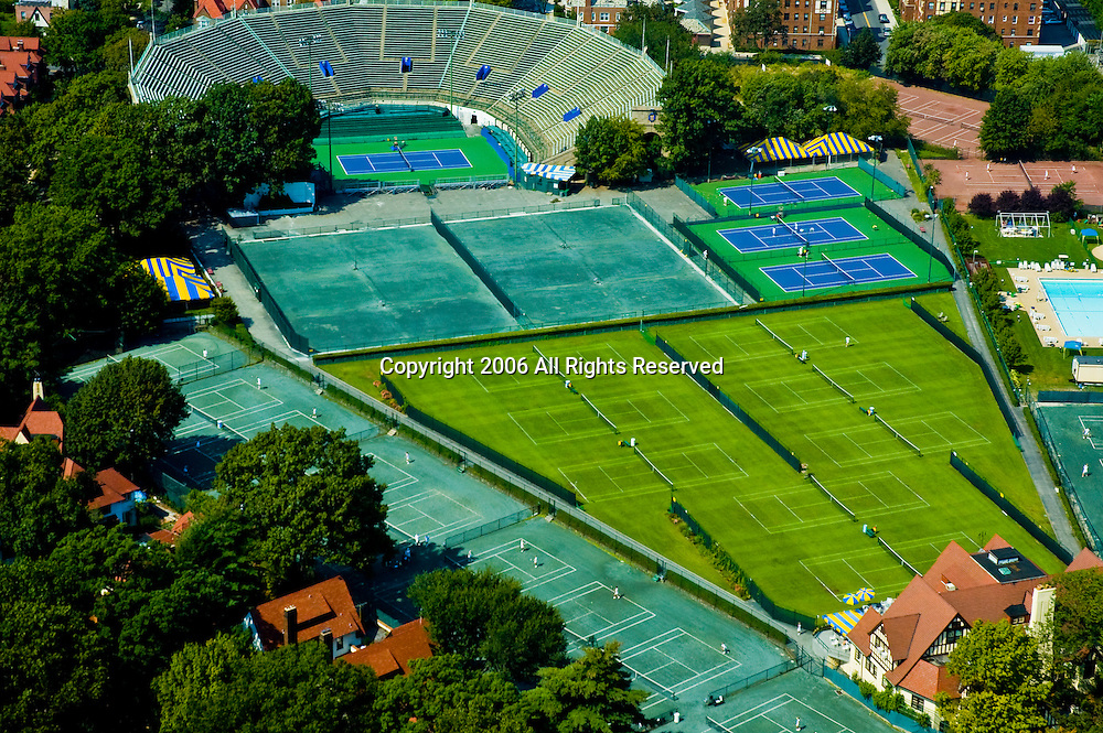 Aerial view of  West Side Tennis Club and Forest Hills Stadium, Chatwick Gardens, Forest Hills, Queens, New York