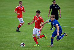 RHYL, WALES - Monday, September 4, 2017: Wales' Jack Vale and Iceland's Arnór Sigurðsson during an Under-19 international friendly match between Wales and Iceland at Belle Vue. (Pic by Paul Greenwood/Propaganda)