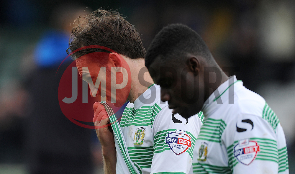 Dejection for Yeovil Town's James Hayter and Yeovil Town's Seth Nana - Photo mandatory by-line: Harry Trump/JMP - Mobile: 07966 386802 - 03/04/15 - SPORT - FOOTBALL - Sky Bet League One - Yeovil Town v Chesterfield - Huish Park, Yeovil, England.