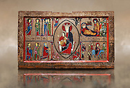 Romanesque Altar Front of Cardet<br /> <br /> Thirteenth century paint and metal relief on wood from a church of Santa Maria of Cardet, Vall de Boi, Alta Ribagorca, Spain<br /> <br /> Acquired by the National Art Museum of Catalonia, Barcelona 1932. Ref: MNAC 3903.<br /> <br /> <br /> This Romanesque painted altar front is dedicated to the Nativity. At is centre is a painting of The Madonna and Child surrounded by a mandorla. Top left shows the Annunciation with the Virgin Mary, top left depicts the nativity scene, bottom left shows the Three Kings and bottom left shows The Flight to Egypt..<br /> <br /> If you prefer you can also buy from our ALAMY PHOTO LIBRARY  Collection visit : https://www.alamy.com/portfolio/paul-williams-funkystock/romanesque-art-antiquities.html<br /> Type -     MNAC     - into the LOWER SEARCH WITHIN GALLERY box. Refine search by adding background colour, place, subject etc<br /> <br /> Visit our ROMANESQUE ART PHOTO COLLECTION for more   photos  to download or buy as prints https://funkystock.photoshelter.com/gallery-collection/Medieval-Romanesque-Art-Antiquities-Historic-Sites-Pictures-Images-of/C0000uYGQT94tY_Y