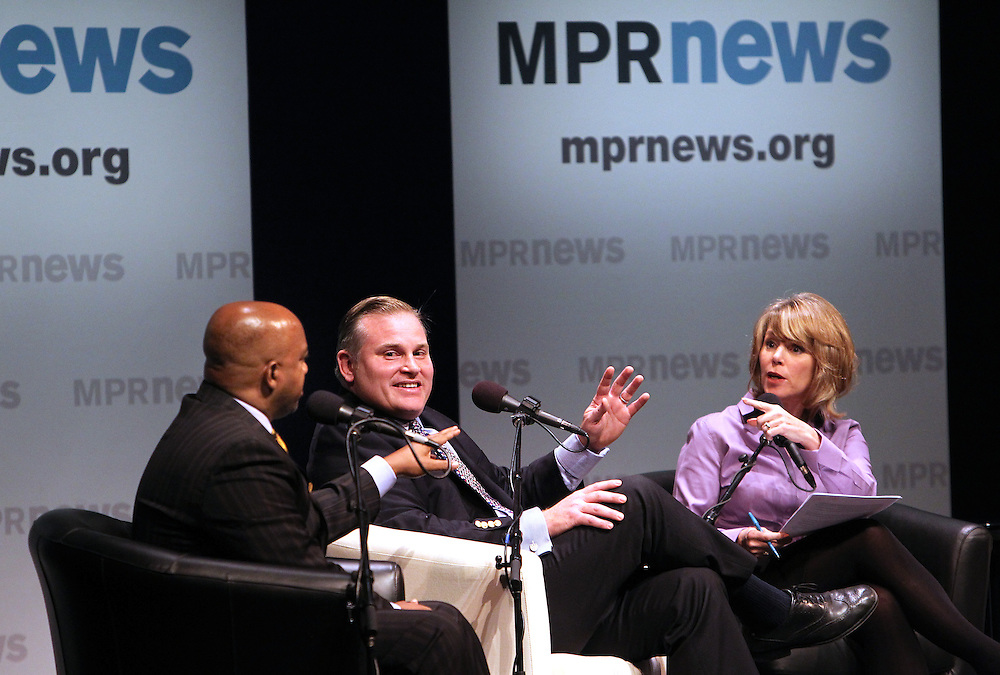 Reverend Jerry McAfee, left, of New Salem Missionary Baptist Church and Brian Brown, President of the National Organization for Marriage, discuss the Vote Yes position during the Marriage Amendment Debate hosted by Kerri Miller and presented by Minnesota Public Radio News at the Fitzgerald Theater in St. Paul, Minnesota.