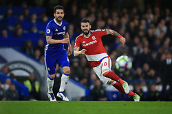 8 May 2017 - Premier League - Chelsea v Middlesbrough - Alvaro Negredo of Middlesbrough in action with Cesc Fabregas of Chelsea - Photo: Marc Atkins / Offside.