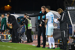 December 7, 2017 - San Sebastian, Basque Country, Spain - Roberto Mancini, head coach of Zenit, gives instructions to Leandro Paredes during the UEFA Europa League Group L football match between Real Sociedad and Zenit at the Anoeta Stadium, on 7 December 2017 in San Sebastian, Spain  (Credit Image: © Jose Ignacio Unanue/NurPhoto via ZUMA Press)