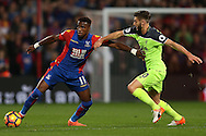 Wilfried Zaha of Crystal Palace and Adam Lallana of Liverpool in action. Premier League match, Crystal Palace v Liverpool at Selhurst Park in London on Saturday 29th October 2016.<br /> pic by John Patrick Fletcher, Andrew Orchard sports photography.