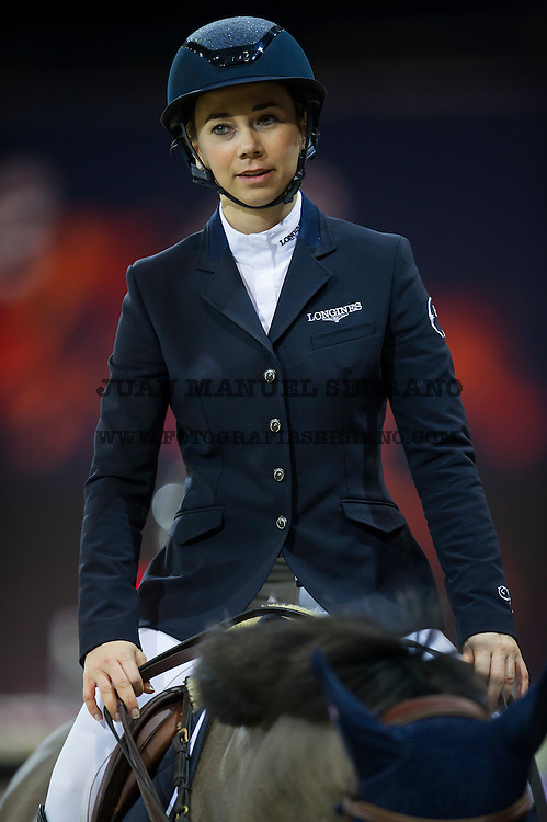 Jane Richard Philips on Dieudonne de Guidenboom is the winner at the Prize Giving Ceremony at the end of Table A Against the Clock during the Longines Masters of Hong Kong on 19 February 2016 at the Asia World Expo in Hong Kong, China. Photo by Juan Manuel Serrano / Power Sport Images
