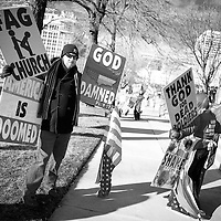 Steve Drain, member of the Westboro Baptist Church protesting in front of Reverend at St. Mark's Episcopal Church in Salt Lake City. A former documentary filmaker, he is not related to the Phelps family. He is in charge of WBC multimedia projects.