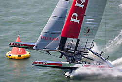 Luna Rossa wins the First race of the Louis semi finals.  6th of August, 2013, Alameda, USA