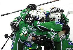 Olimpija celebrates at 39th Round of EBEL League ice hockey match between HDD Tilia Olimpija and Acroni Jesenice, on December 30, 2008, in Arena Tivoli, Ljubljana, Slovenia. Tilia Olimpija won 4:3. (Photo by Vid Ponikvar / SportIda).