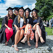 """25.08.2016          <br />  Faculty of Business, Kemmy Business School graduations at the University of Limerick today. <br /> <br /> Attending the conferring were graduates, Caoimhe Murphy, Portlaois Co. Laois, Laura O'Shea, Millstream Co. Cork, Aoife Kirby, Crecora Co. Limerick, Lorna Deegan, The Heath Co. Laois and Rebecca Sheerin, Raheen, Co. Limerick. Picture: Alan Place<br /> <br /> <br /> As the University of Limerick commences four days of conferring ceremonies which will see 2568 students graduate, including 50 PhD graduates, UL President, Professor Don Barry highlighted the continued demand for UL graduates by employers; """"Traditionally UL's Graduate Employment figures trend well above the national average. Despite the challenging environment, UL's graduate employment rate for 2015 primary degree-holders is now 14% higher than the HEA's most recently-available national average figure which is 58% for 2014"""". The survey of UL's 2015 graduates showed that 92% are either employed or pursuing further study."""" Picture: Alan Place"""