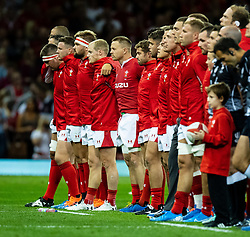 Wales line up during the anthems<br /> <br /> Photographer Simon King/Replay Images<br /> <br /> Friendly - Wales v England - Saturday 17th August 2019 - Principality Stadium - Cardiff<br /> <br /> World Copyright © Replay Images . All rights reserved. info@replayimages.co.uk - http://replayimages.co.uk