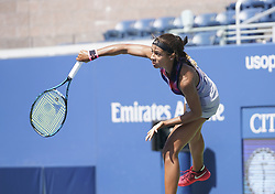 September 4, 2017 - New York, New York, United States - Whitney Osuigwe of USA serves during match against Margaryta Blokin of Ukraine at US Open juniors  Championships at Billie Jean King National Tennis Center  (Credit Image: © Lev Radin/Pacific Press via ZUMA Wire)