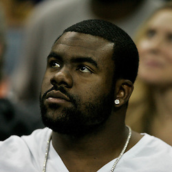 April 24, 2011; New Orleans, LA, USA; NFL draft prospect Mark Ingram in attendance during game four of the first round of the 2011 NBA playoffs between the New Orleans Hornets and the Los Angeles Lakers at the New Orleans Arena.    Mandatory Credit: Derick E. Hingle