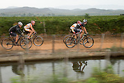 Riders follow an irrigation canal during stage 1 of the 2014 Absa Cape Epic Mountain Bike stage race held from Arabella Wines in Robertson, South Africa on the 24 March 2014<br /> <br /> Photo by Greg Beadle/Cape Epic/SPORTZPICS