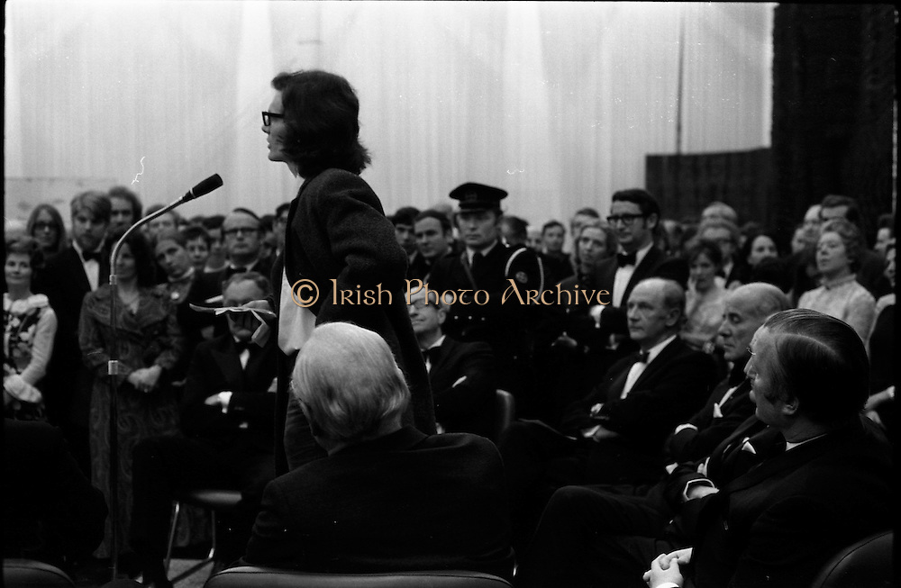 24/10/1971<br /> 10/24/1971<br /> 24 October 1971<br /> Opening of ROSC 1971 art exhibition at the RDS, Ballsbridge, Dublin. Picture shows William Belton of the National College of Art speaking at the opening. Mr Belton was stating the grievances of the students in the College.