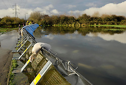 © Licensed to London News Pictures. 26/11/2012. Worle, Somerset, UK. Picture of flood barriers behind Lanthony Close in Worle near Weston-super-Mare, Somerset.  Fire and rescue service used high capacity pumps to deal with flooding in the street. Sofar the water has been kept out of local residents' houses.  25 November 2012..Photo credit : Simon Chapman/LNP