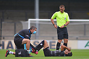 Reece James of of Doncaster Rovers u23 suffers an injury during the Pre-Season Friendly match between Scunthorpe United and Doncaster Rovers at Glanford Park, Scunthorpe, England on 15 August 2020.