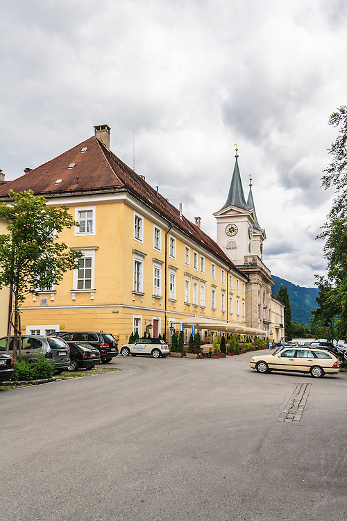 Schloss Tegernsee in Tegernsee, Germany.  The former monastery now houses a brewery, a beer hall, and the local high school.