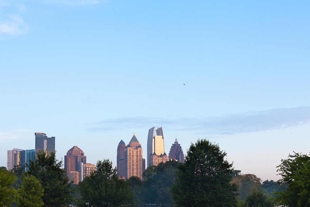 Midtown skyline from Piedmont Park, Atlanta, Georgia, USA<br /> <br /> For LICENSING and DOWNLOADING this image follow this link: http://www.masterfile.com/em/search/?keyword=600-06196583&affiliate_id=01242CH84GH28J12OOY4<br /> <br /> For BUYING A PRINT of this image press the ADD TO CART button.<br /> <br /> Download of this image is not available at this site, please follow the link above.