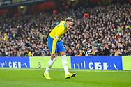 Brazil forward Neymar Jr (10) clutches his leg during the Friendly International match between Brazil and Uruguay at the Emirates Stadium, London, England on 16 November 2018.