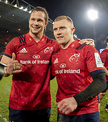January 19, 2019 - Limerick, Ireland - Arno Botha and Keith Earls of Munster celebrate during the Heineken Champions Cup match between Munster Rugby and Exeter Chiefs at Thomond Park in Limerick, Ireland on January 19, 2019  (Credit Image: © Andrew Surma/NurPhoto via ZUMA Press)