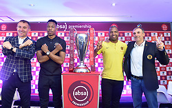 South Africa: Johannesburg: Orlando Pirates coach Milutin Sredojevic, captain Happy Jele, Kaizer Chiefs Captain Itumeleng Khune and Chiefs coach Giovanni Solinas, poses photographs at the PLS officers in Parktown, after addressing members of the media on the much anticipated Soweto Derby on Saturday when Orlando Pirates host rivals Kaizer Chiefs for Absa Premiership match at FNB Stadium.<br />Picture: Itumeleng English/African News Agency (ANA)<br />128<br />24.10.2018