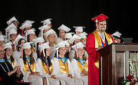 Class President Adam Horan addresses the crowd during Belmont High School's graduation ceremony at Meadowbrook Pavilion Sunday morning.  (Karen Bobotas/for the Laconia Daily Sun)