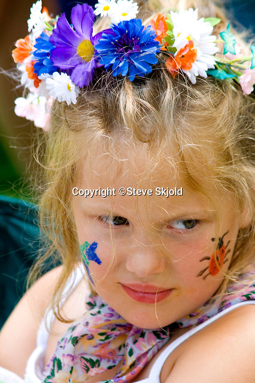 Young girl Swedish costume garland head band. Svenskarnas Dag Swedish Heritage Day Minnehaha Park Minneapolis Minnesota USA