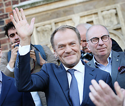 October 06, 2018 - Krakow, Poland - President of the European Council DONALD TUSK seen on the Main Squere in Krakow. Meeting of Donald Tusk with the inhabitants of Krakow.