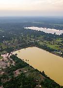 Aerial view of Sangat Nokor Thum at sunset, east of Angkor Wat, Siem Reap, Cambodia.