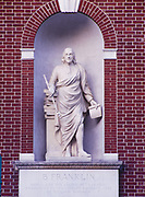 Statue of Benjamin Franklin above the entrance of Library Hall, originally constructed in 1789-1790, demolished in 1884 and rebuilt in 1959, Independence National Historical Park, Philadelphia, Pennsylvania.
