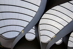 The roof structure of Grand Central - a shopping centre located in Birmingham, England.  It is built directly over New Street railway station and also connects to the Bullring.<br /> <br /> (c) Andrew Wilson | Edinburgh Elite media