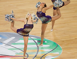 Cheerleaders Dolls-ice  Dance team Nova gorica during basketball match between National teams of Lithuania and France in final match of U20 Men European Championship Slovenia 2012, on July 22, 2012 in SRC Stozice, Ljubljana, Slovenia. Lithuania defeated France 50-49 and became European Champion 2012. (Photo by Vid Ponikvar / Sportida.com)