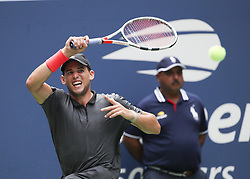 NEW YORK, Sept. 3, 2018  Dominic Thiem of Austria hits a return during the men's singles fourth round match against Kevin Anderson of South Africa at the 2018 US Open in New York, the United States, Sept. 2, 2018. Thiem won 3-0. (Credit Image: © Xinhua via ZUMA Wire)