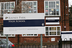 © Licensed to London News Pictures. 26/01/2016. London, UK. Raynes Park High School in Wimbledon, south west London today (Tues), one of 14 schools across Britain which have been evacuated following reported bomb scares. Five high schools in Paris were also evacuated following similar threats made over the telephone.  Photo credit: Peter Macdiarmid/LNP