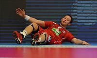 Håndball Menn Oppkjøring til OL-kvalik. Norge - Island<br /> Trondheim Spektrum, Trondheim<br /> 5 april 2016<br /> <br /> Norges Sander Sagosen nede for telling<br /> <br /> Foto : Arve Johnsen, Digitalsport