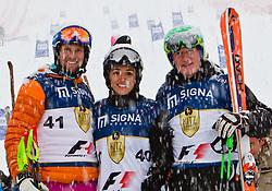 """21.01.2012, Hahnenkamm, Kitzbuehel, AUT, FIS Weltcup Ski Alpin, 72. Hahnenkammrennen, Charity race, im Bild die 2. Platzierten Marco Büchel (LIE), Fabiana Flosi (BRA) und Franz Klammer (AUT) vom Team """"F1"""" // during Charity race of 72th Hahnenkammrace of FIS Ski Alpine World Cup at 'Charity' course in Kitzbuhel, Austria on 2012/01/21. EXPA Pictures © 2012, PhotoCredit: EXPA/ Markus Casna"""