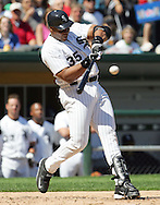 CHICAGO - 2005:  Frank Thomas of the Chicago White Sox bats during an MLB game at U.S. Cellular Field in Chicago, Illinois.  Thomas played for the White Sox from 1990-2005.  (Photo by Ron Vesely)