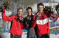 OL 2006 Torino<br /> Kombinert<br /> 11.02.2006<br /> Foto: Gepa/Digitalsport<br /> NORWAY ONLY<br /> <br /> Felix Gottwald (AUT), Georg Hettich (GER), Magnus Moan (NOR)