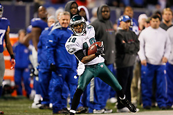 Philadelphia Eagles wide receiver DeSean Jackson #10 carries the ball during the NFL game between the Philadelphia Eagles and the New York Giants on December 13th 2009. The Eagles won 45-38 at Giants Stadium in East Rutherford, New Jersey. (Photo By Brian Garfinkel)